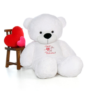 6ft Giant White Valentine's Day Teddy Bear in a Will you be my Valentine T-Shirt