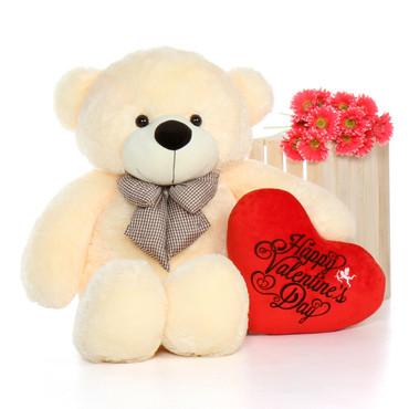 48'' Vanilla Cozy Cuddles w Happy Valentine's Day Plush Heart