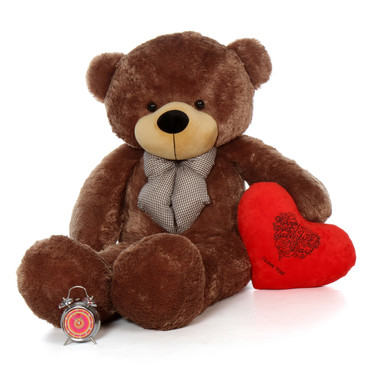 60in Sunny Cuddles Mocha Brown Teddy Bear  w Heart Pillow for Valentine's Day