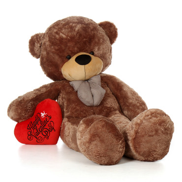 6ft Sunny Cuddles  Giant Mocha Teddy Bear With Happy Valentine's Day Red Plush Heart