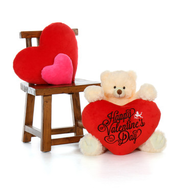 24in Tiny Tubs Vanilla Cream Teddy Bear with Happy Valentine's Day Red Plush Heart