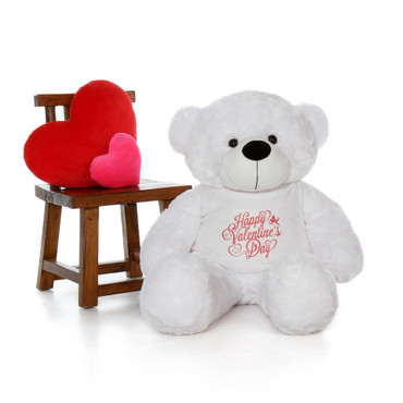 4ft Coco Cuddles White Giant Teddy Bear in a Happy Valentine's Day Shirt
