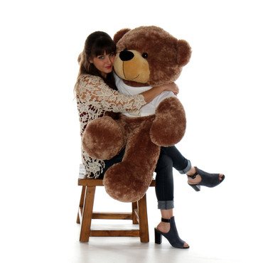 48in (4ft) Mocha Brown Sunny Cuddles in Happy Valentine's Day T-Shirt