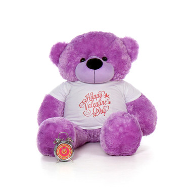 4ft DeeDee Cuddles Purple Giant Teddy Bear in a Happy Valentine's Day Shirt