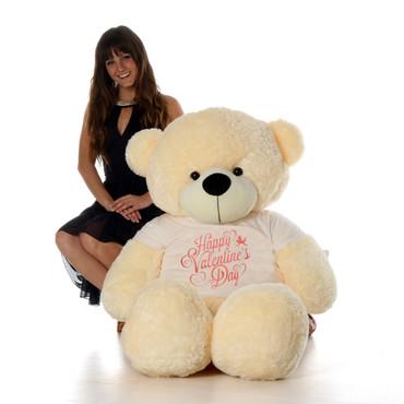 5ft Cozy Cuddles Vanilla Cream Giant Teddy Bear in Happy Valentine's Day T-Shirt