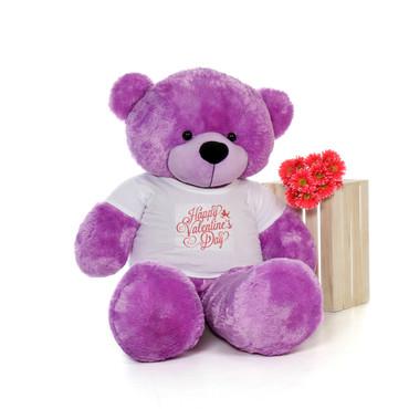 5ft DeeDee Cuddles Purple Huge Teddy Bear in Valentine's Day T-Shirt