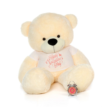 6ft Cozy Cuddles Vanilla Cream Huge Teddy Bear in Happy Valentine's Day T-Shirt