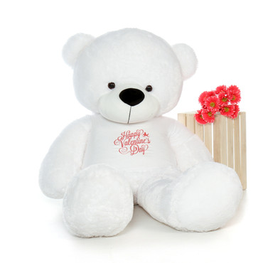 6ft Coco Cuddles White Teddy Bear in Happy Valentine's Day T-Shirt