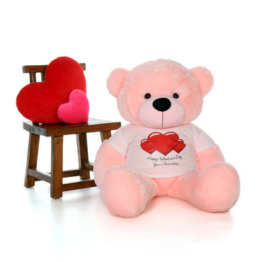 4ft Lady Cuddles Pink Giant Teddy Bear in Red Heart Happy Valentine's Day T-Shirt (Choose your message)