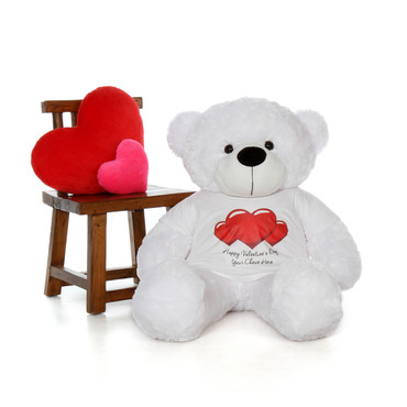 48in Coco Cuddles White Giant Teddy Bear in Red Heart Happy Valentine's Day T-Shirt (Choose your message)