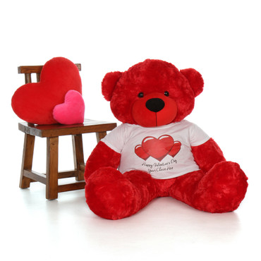 4ft Bitsy Cuddles Red Giant Teddy Bear in Red Heart Happy Valentine's Day T-Shirt (Choose your message)