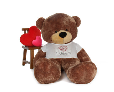 6 Foot Mocha Brown Teddy Bear with Valentine's Day T-shirt