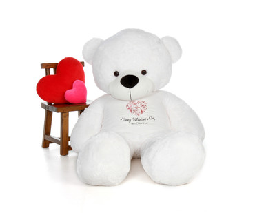6 Foot Big Plush Snow White Teddy Bear with Personalized Happy Valentine's Day T-shirt