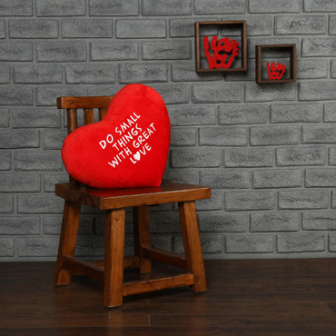 """Personalized Red Pillow Heart with """"Do Small Things with Great Love"""" Message"""