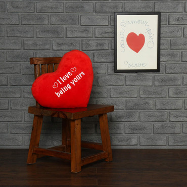 """Personalized Red Pillow Heart with """"I love being yours"""" Message"""