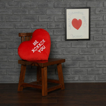 "Personalized Red Pillow Heart with ""Me XOXXOX You"" Message"