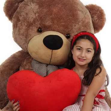 Giant Teddy Bear with Red Heart Pillow Design