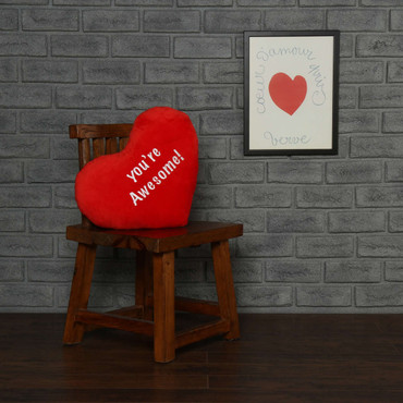 """Personalized Red Pillow Heart with """"Your Awesome"""" Message"""