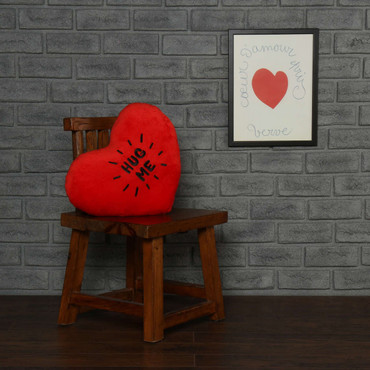 18in red heart pillow black embroidery Hug Me