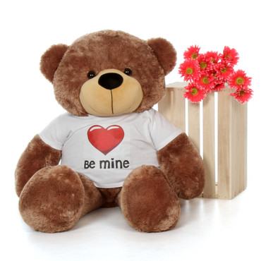 48in Mocha Brown Sunny Cuddles Giant Teddy with a Be Mine Valentine's Day T-Shirt
