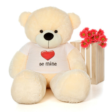 5ft Cozy Cuddles Vanilla Cream Giant Teddy Bear in Be Mine T-Shirt
