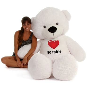"""72"""" White Coco Cuddles by Giant Teddy in Be Mine Valentine's Day T-Shirt"""