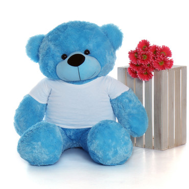 48in Happy Cuddles Blue Giant Teddy Bear in Valentine's Day Paw Stamp T-Shirt