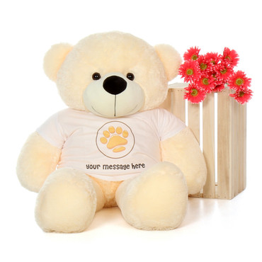 4ft Cozy Cuddles Vanilla Cream Giant Teddy Bear in Valentine's Day Paw Stamp T-Shirt