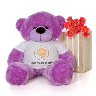 48in DeeDee Cuddles Purple Giant Teddy Bear in Valentine's Day Paw Stamp T-Shirt