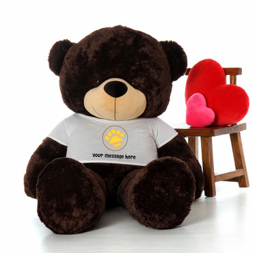 72in Chocolate Brownie Cuddles Giant Teddy in Valentine's Day Paw Stamp T-Shirt