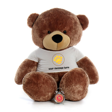6ft Sunny Cuddles Giant Teddy Bear in Valentine's Day Paw Stamp T-Shirt