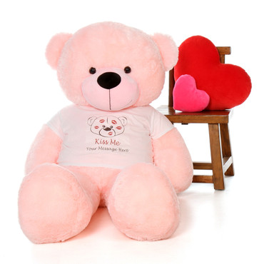 5ft Lady Cuddles Pink Teddy Bear in Valentine's Day Kiss Me Shirt