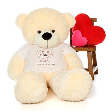 5ft Cozy Cuddles Vanilla Cream Teddy in Valentine's Day Kiss Me Shirt