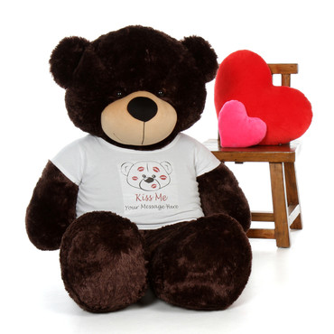 5ft Brownie Cuddles in Valentine's Day Kiss Me Shirt