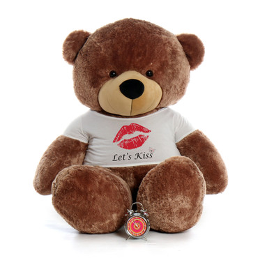 72in Sunny Cuddles Mocha Brown Giant Teddy Bear wearing a Let's Kiss T-Shirt