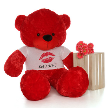 72in Bitsy Cuddles Red Giant Teddy Bear wearing a Let's Kiss Shirt