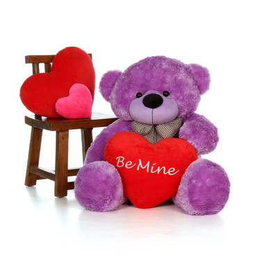 4ft Purple Giant Teddy DeeDee Cuddles with a Be Mine plush Heart