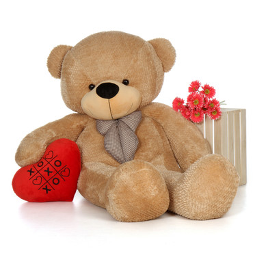 6ft Giant Teddy Amber Cuddles with an XOXO red plush heart