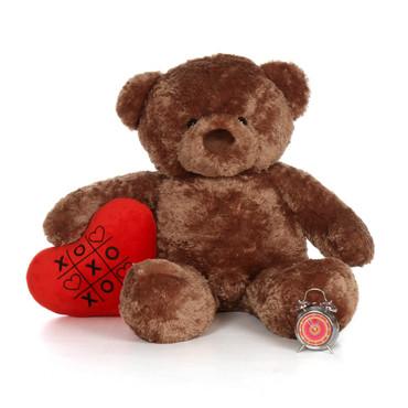 48in Mocha Chubs Giant Teddy Bear with XOXO heart pillow