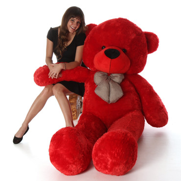 72in Huge Life Size Red Valentine's Day Teddy Bear Bitsy Cuddles with beautiful Kiss heart pillow