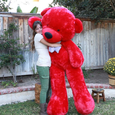 6 Foot Huge Huggable Red Teddy Bear