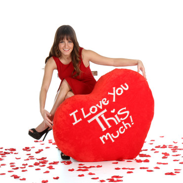 Jumbo I Love You This Much Heart Pillow