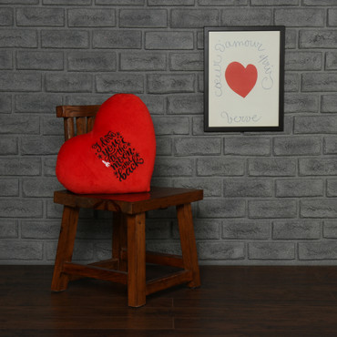 Heart Pillow black embroidery 'I Love You to the Moon and Back'