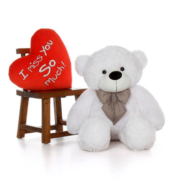 Huge White Teddy Bear  for Girlfriend with Giant I Love You This Much Heart