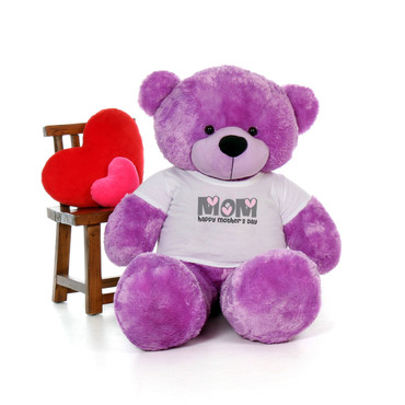 60in Purple DeeDee Cuddles Happy Mother's Day Mom Teddy Bear