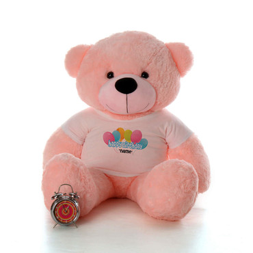 48in Pink Lady Cuddles Happy Birthday Personalized Teddy Bear