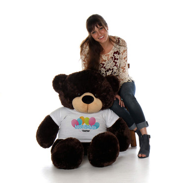 48in Chocolate Brownie Cuddles Happy Birthday Personalized Teddy Bear