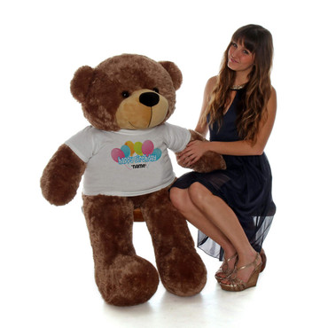 48in Mocha Sunny Cuddles Happy Birthday Personalized Teddy Bear