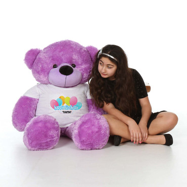 48in Purple DeeDee Cuddles Happy Birthday Personalized Teddy Bear