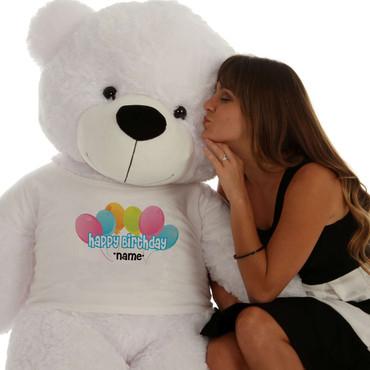 60in White Coco Cuddles Happy Birthday Personalized Teddy Bear